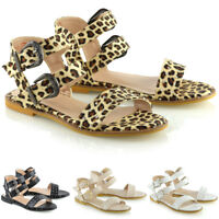 Womens Ankle Strap Studded Sandals Ladies Gladiator Holiday Summer Flat Shoes