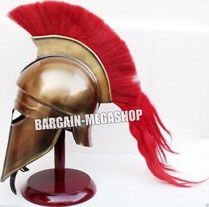 Greek Corinthian Helmet Red Plume Armor Medieval Knight Spartan  CXZ