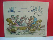 18th? or 19th? Century Hand Colored 5 Musician Bandwagon Chain Laid Paper Print