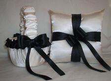 IVORY CREAM SATIN / BLACK TRIM FLOWER GIRL BASKET & RING BEARER PILLOW # 2