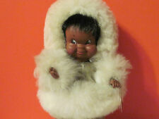 """11"""" Eskimo Doll with real fur & leather by Creations du Vagabond made in Canada"""