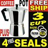 3 CUP ITALLIAN COFFEE PERCOLATOR STOVE TOP CAST ALUMINUM POT. LATTE GROUND BEANS