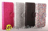 Crystal Diamond Stone Bling PU Leather Book Wallet Case Cover For Apple Samsung