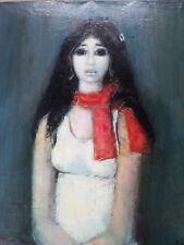 Jacques Voyet (1927-2010) Tableau/Huile-Les Yeux noirs-Portrait femme-HST- oil