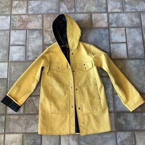 Vintage 80s yellow plaid PVC ladies oversized raincoat slicker One Size?