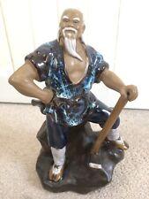 Chinese Mud Man glaçure Céramique Figurine ornement Fier Hache Travailleur Oriental Statue