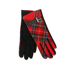 Tartan Traditions Scottish Royal Stewart Ladies Womens Gloves with Black Buckle