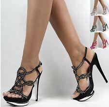 Damenschuhe 36-41 NEU Luxus Riemchen Pumps Damen Schuhe Party High Heels  Plateau 7a0bc208a4