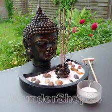 Buddha ZEN GARTEN Räucherstäbchenhalter Feng Shui Komplettset Teelichte Sand NEU