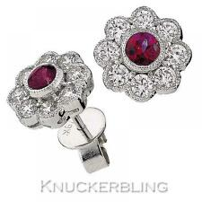 1.15ct Ruby and Diamond Daisy Earrings in 18ct White Gold for Pierced Ears