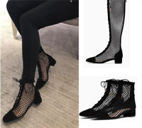Womens Summer Ankle/Knee High Boots Chunky Heel Leather Mesh Hollow OUt Shoes