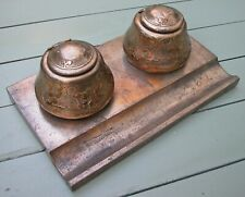 """Antique Silver Crest Bronze Estate Double Inkwell Inkstand Celtic Gothic 16x10"""""""