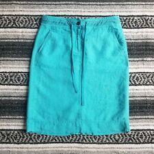 Talbots Petites Sz 2p 100% Irish Linen Knee Length Straight Pencil Skirt Blue