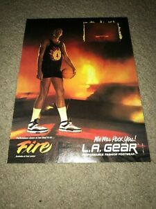 Vintage 1989 KAREEM ABDUL JABBAR L.A. GEAR Basketball Shoes Poster Print Ad 80s