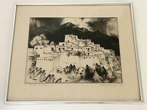 "Vintage Gene Kloss N.A ""Ceremonial Day At Taos"" Very Rare Etching 1953 #24"