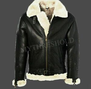 Mens Black Leather Jacket Genuine Sheepskin Aviator Fur B3 Bomber