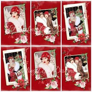 ART DECO IN RED CHRISTMAS  Embellishments, Card Making Toppers, Card Toppers