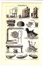1894 MEDICINE,OLD NURSING BEDS EQUIPMENT Antique Lithograph Print