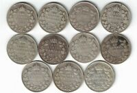 11 X CANADA TEN CENTS DIMES KING GEORGE V .800 SILVER COINS 1920 -1936 CANADIAN