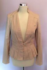 REISS NUDE PLEATED TRIM COTTON JACKET SIZE S
