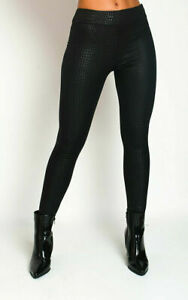 Womens Croc Print Pu Waist Tapered Tailored Leggings Stretchy Pants Bottoms