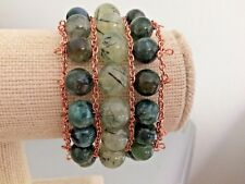 "Handmade Wire & Chain 1.5"" x 6.75"" Bracelet with Green Agate & Prehnite Beads"