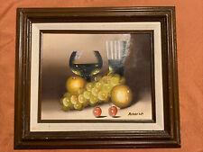 OLD ORIGINAL OIL PAINTING A BOTTLE OF  WINE & FRUIT WOOD FRAMED SIGNED RIDDICK