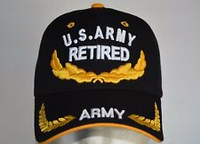 US ARMY RETIRED LAUREL LEAVES  FRONT BLACK SANDWICH GOLD BASEBALL CAP