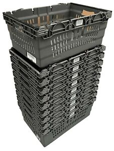 USED 10 x 46 Ltr GREY Stack Nest Bale Arm Plastic Storage Boxes Container Crates