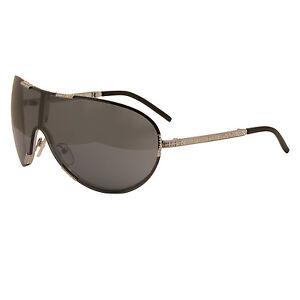 Valentino - Silver Rhinestone Embellished Vendome Shield Sunglasses with Case