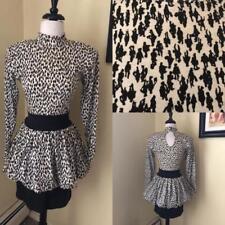 Vintage 1980's Bubble Mini Dress Novelty Print Black + White 80s Cotton Sz Xs S