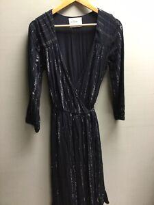Women's Leon&Harper Black Silver Glitter Wrap Dress UK M