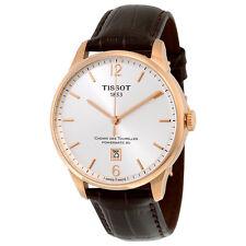 Tissot Chemin Des Tourelles Automatic Silver Dial Brown Leather Mens Watch