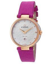 Eterna 2566-60-61-1371 Women's Grace Diamond Fuchsia Fabric Rose-Tone Watch
