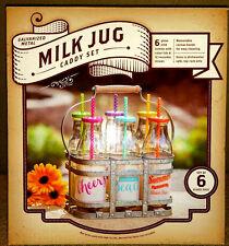 MILK JUG DRINKING GLASS CADDY SET - SET of 6 Glass Jugs - BRAND NEW IN BOX