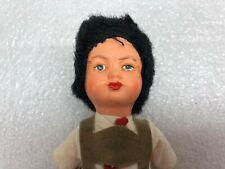 "Vintage Doll Hard Plastic Black Hair International Boy Overalls Molded Feet 6"""