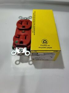 Hubbell HBL8300HRED - Hospital Grade 125v Duplex Receptacle - RED - NEW