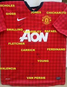 MANCHESTER UNITED SIGNED AUTOGRAPH SHIRT NIKE JERSEY GIGGS+SCHOLES+HERNANDEZ+RVP