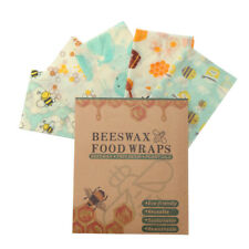 Set of 3 Premium Beeswax Food Cover Wraps, Organic Reusable & Washable, NewInBox