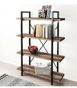 45MinST 4-Tier Vintage Industrial Style Bookcase/Metal and Wood Bookshelf Furnit