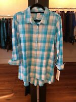 Small Lulu B Blue Plaid  High-low Top Retail $49