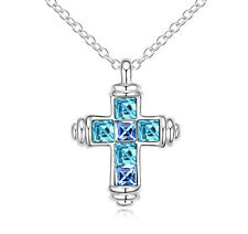 18K WHITE GOLD GP Made With SWAROVSKI Elements CRYSTAL Sky Blue Cross NECKLACE