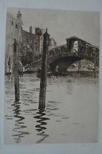 RIALTO BRIDGE GRAND CANAL VENICE ORIGINAL ETCHING EDWARD M. SYNGE A.R.A