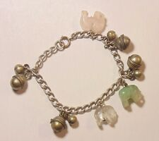 Vintage Antique Chinese Silver Jade Rose Quartz Elephant Bells Charm Bracelet