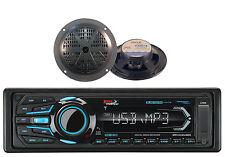 "2 Black 5.25"" Marine Speakers and Boss Bluetooth iPod USB AUX SD Marine Receiver"