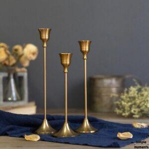 3 PC/set Retro Bronze Candle Holders Party Vintage Metal Candlestick Home Decor
