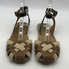 Prada Tan Ankle Strap Rope Sandals Size 37.5/7.5