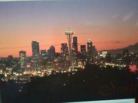 NEW PHOTO POST CARD HEART OF CITY OF SEATTLE @ DUSK SEATTLE WASHINGTON