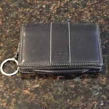 COACH Black Leather with White Stitching Wallet Key Chain Vintage