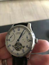 43mm PARNIS white dial power reserve automatic mens watch